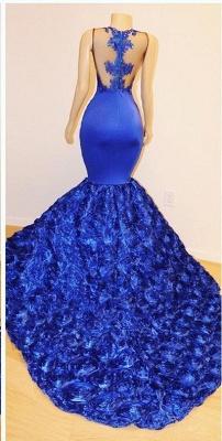 2021 Königsblau Blumen Meerjungfrau Lange Abendkleider | Glamourös ärmellos mit Spitze Appliques Prom Dresses_3