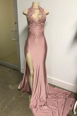 Rosa sem mangas Fenda Frontal Appliqued Long Mermaid Prom Dresses_1