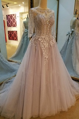 Fashion V-neck Lace-up A Line Floor-Length Evening Dress With Appliques And Beadings_2