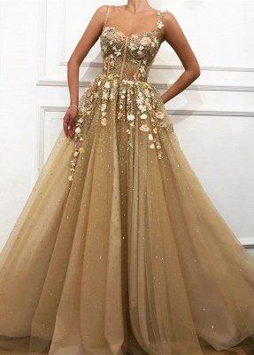 Glamorous A linha de cintas de espaguete vestidos de casamento da flor_1
