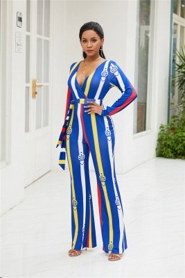 Fashion V-Neck Long Sleeves Print Ployester Wide Long Pants Jumpsuits