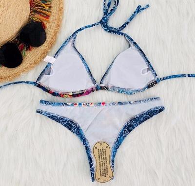 Women Strappy Swimwear Floral Print Padding Wireless Bikini Set Bathing Suit Swimsuits_3