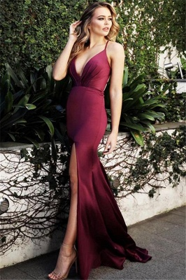 Burgundy Spaghetti-Straps V-Neck Evening Dress | Cheap Side-Slit Sleeveless Sheath Prom Dresses