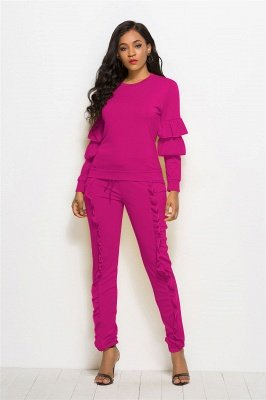 Elegant Two Pieces Round Neck Long Sleeves Pockets Long Pants