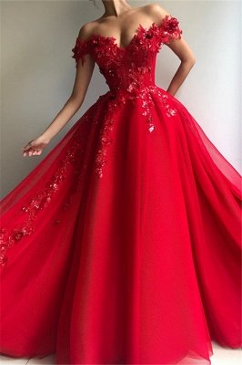 Glamorous Ball Gown Off The Shoulder Applique Flowers Evening Dresses_1