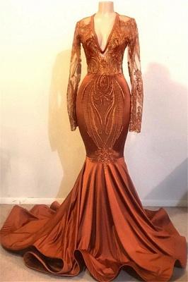 Vestidos de fiesta de manga larga con cuello en V de Glamorous Mermaid_1
