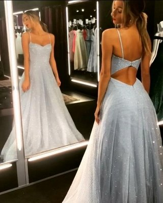 Sparkly Backless Dress Tulle Floor Length Prom Dresses | Long Evening Gowns on Sale_1