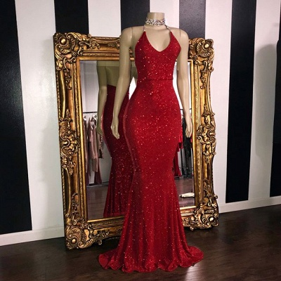 Sexy Sequins Sleeveless Mermaid Prom Dresses | Glitter 2019 Halter Red Evening Gowns_2