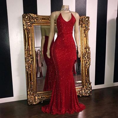 Sexy Pailletten ärmellose Meerjungfrau Ballkleider | Glitter 2021 Halter Rote Abendkleider_2