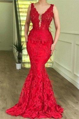 Elegante Abendkleider Lang V Ausschnitt   Rote Abendmode Mit Spitze_2