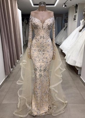 Luxury Long sleeve off-the-shoulder prom dress with fully-covered beads_1