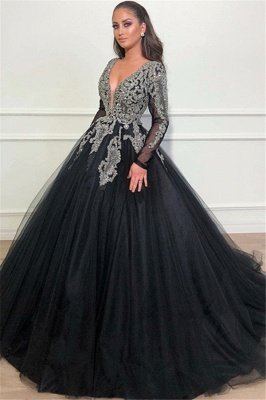 Black Ball Gown Deep V-Neck Long Sleeves Appliques Overskirt Evening Dresses_1