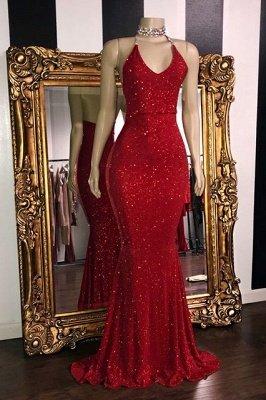 Sexy Pailletten ärmellose Meerjungfrau Ballkleider | Glitter 2021 Halter Rote Abendkleider_1