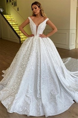 Elegant Ball Gown Off The Shoulder Appliques Wedding Dresses