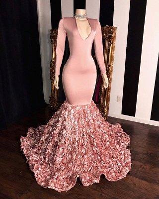 Rosa lange Ärmel Blumen Meerjungfrau Abschlussballkleider | 2021 Elegantes V-Ausschnitt Abendkleid_2