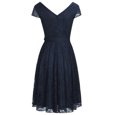 A-line Shoet Sleeves V-neck Lace Dresses with Bow Sash_4