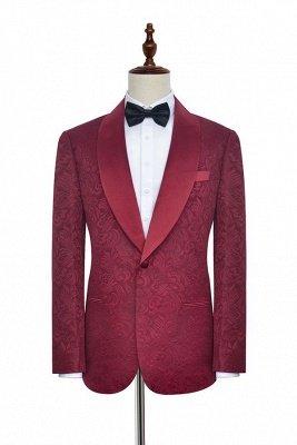 Deep Red Jacquard 3 Taschen Schal Kragen Custom Hochzeitsanzug | Einreiher One Button Custom Men Suits Smokings