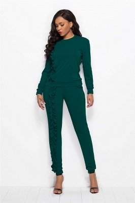 Two Pieces Sexy Round Neck Pockets Long Sleeves Long Pants