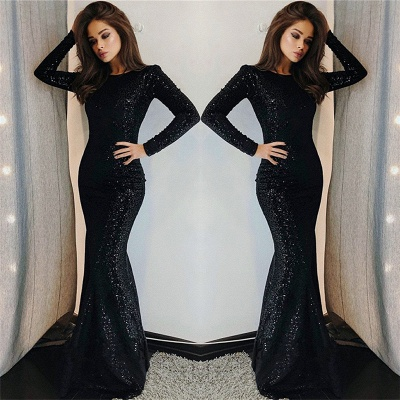 Sexy Mermaid Black Sequins Long-Sleeve Prom Dresses | Evening Gowns_3