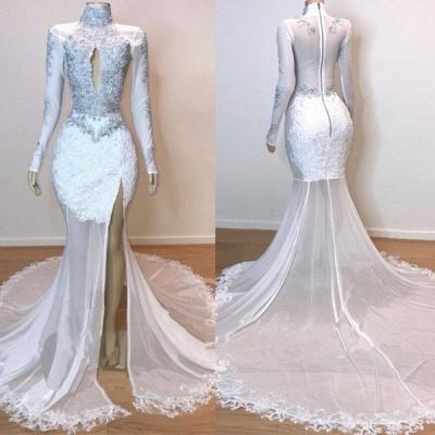 Robes de bal à manches longues en dentelle blanche superbes   Robes de soirée sirène en tulle diaphane 2021_4
