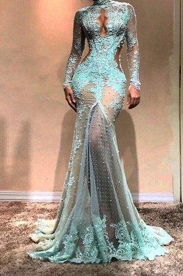 Vestido de noche de sirena de manga larga hermosa | Vestido formal de encaje_2
