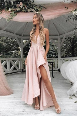 Gorgeous Straps Prom Dresses | Side slit A-Line Sleeveless Sexy Evening Dresses_1
