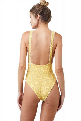 Yellow V-neck Knot One-piece Open Back Bathing Suits_5