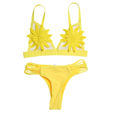 Flower Padded Bra Two-piece Bandage Push Up Bikinis_11