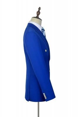 Royal Blue Zweireihiger Wollanzug | Mode-Spitze-Revers sechs Knopf-Bräutigam, der Smoking Wedding ist_5