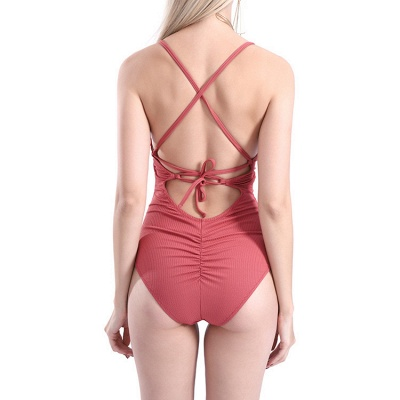 Plain V-neck Criss-cross Bandage One-piece Swimsuits_19