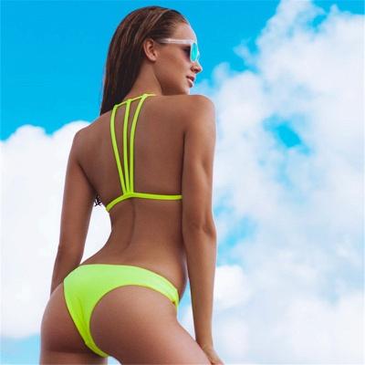 Sexy Scoop Halter Bandage Bikini Set_12