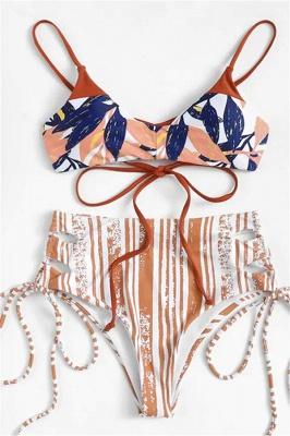 Colorful Patterns Spaghetti Straps Lace-up Bikini Sets