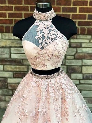 Gorgeous Halter Two Piece Applique Prom Dresses | Elegant Lace Up Crystal Evening Dresses with Beads_3
