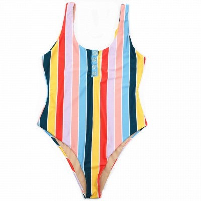 One-piece Buttons Straps Colorful Stripes Swimwears_6