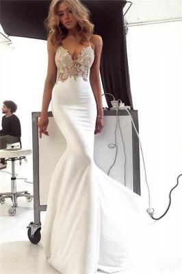 Elegant Spaghetti-Straps Backless Appliques Mermaid Wedding Dress_1