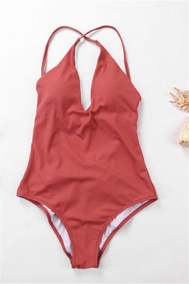 Plain V-neck Criss-cross Bandage One-piece Swimsuits_2