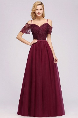 {{$GlobalData.webName}}| A-Line Chiffon Lace Sweetheart Spaghetti Straps Short-Sleeves Floor-Length Bridesmaid Dresses with Ruffles