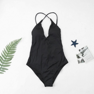 Plain V-neck Criss-cross Bandage One-piece Swimsuits_15