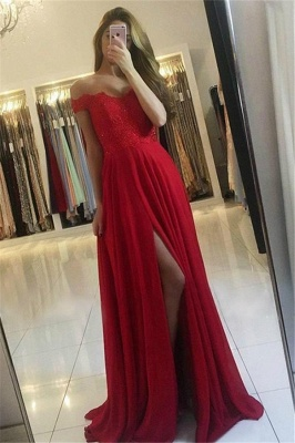 Simple Off-the-Shoulder Applique Prom Dresses | Side Slit Sleeveless Sexy Evening Dresses with Sparkly Beads_1