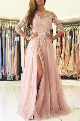 Elegante apliques mangas largas vestidos de baile | Open Back Jewel Side Slit vestidos de noche con cinturón_1