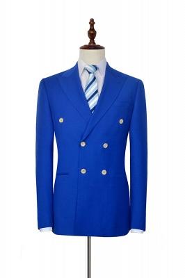 Royal Blue Zweireihiger Wollanzug | Mode-Spitze-Revers sechs Knopf-Bräutigam, der Smoking Wedding ist_3
