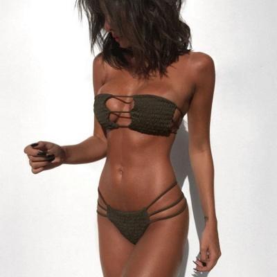 Solid Bandage Strapless Zweiteilige Sexy Bikini Sets_2
