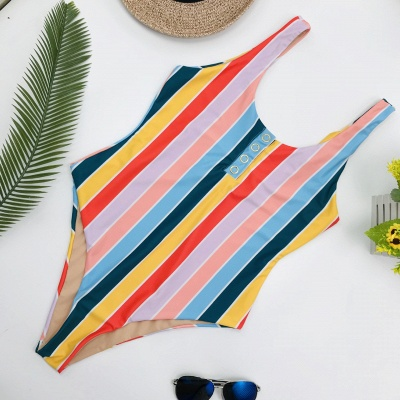 One-piece Buttons Straps Colorful Stripes Swimwears_5