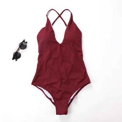 Plain V-neck Criss-cross Bandage One-piece Swimsuits_3