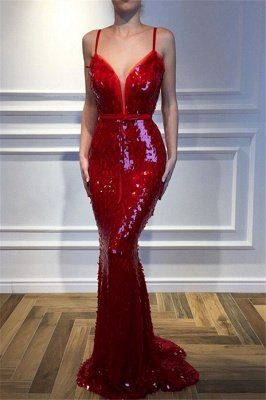 Paillettes rouges sans manches paillettes robes de sirène_2