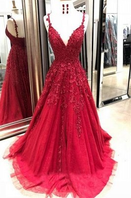Gorgeous Spaghetti Strap Applique Prom Dresses | Red Tulle Cheap Sleeveless Evening Dresses