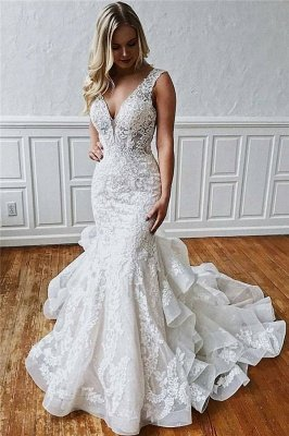 Sexy Lace V-Neck Mermaid Wedding Dresses | Sheer Ruffles Sleeveless Backless Floral Bridal Gowns
