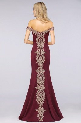 Simple Off-the-shoulder Cheap Burgundy Formal Dress with Lace Appliques_38