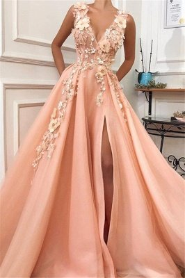 Gorgeous Straps V-Neck Flower Appliques A-Line Prom Dress_1