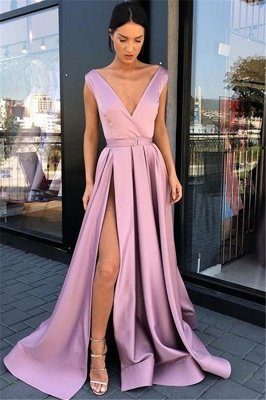 Pink Straps Deep-V-Neck Side-Slit A-Line Prom Dresses